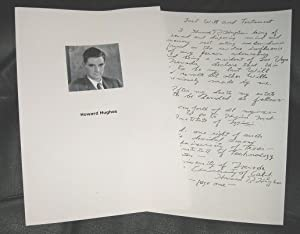 Howard Hughes - Handwritten Will & Testament: Howard Hughes - [hand-signed]