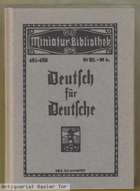 TARNSCHRIFT Deutsch für Deutsche. Nachdruck.