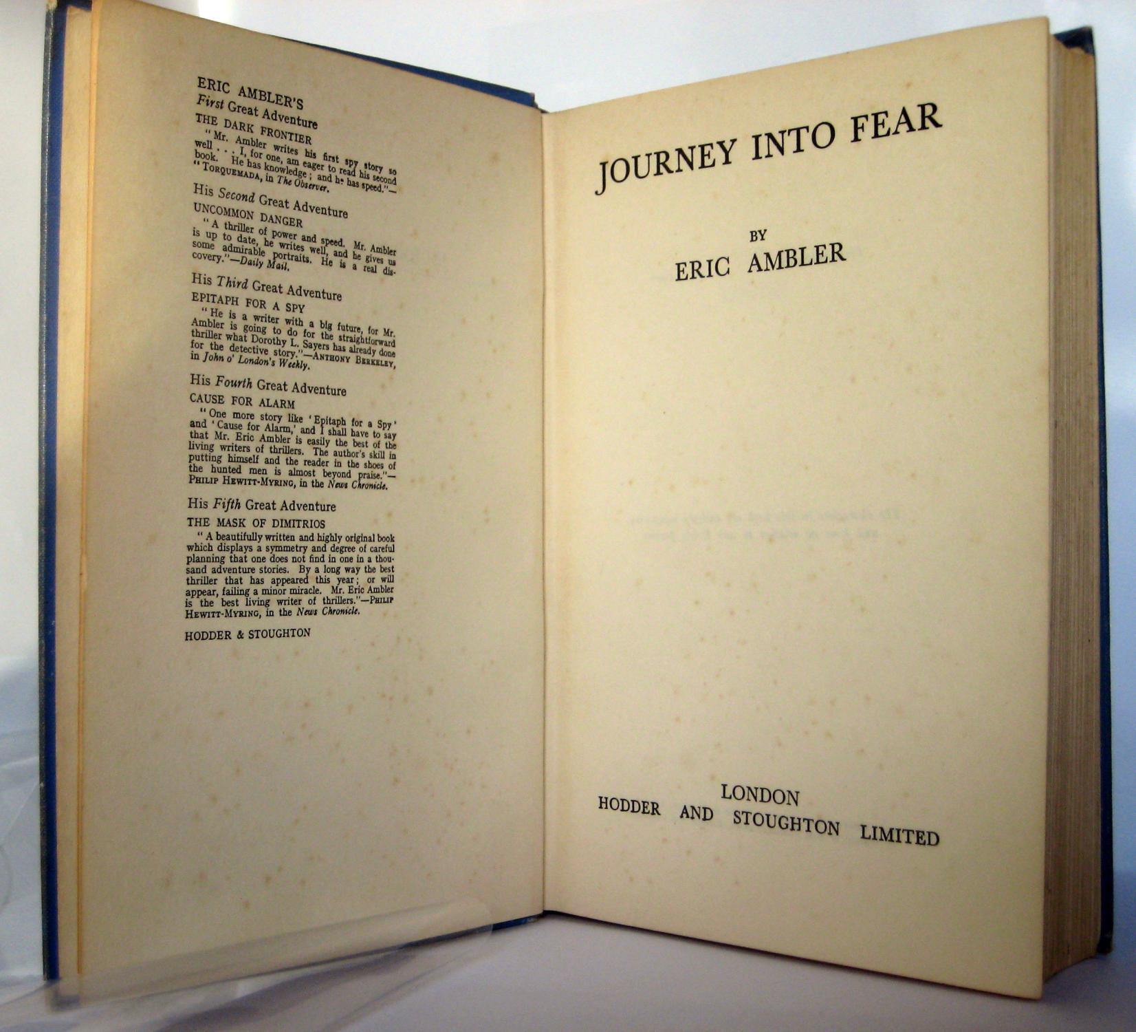 Journey Into Fear: AMBLER Eric