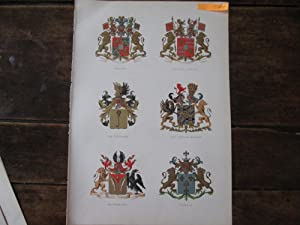 Netherlands Aristocracy. Six Fully Coloured Lithographically Printed Armorials of Familes, ...