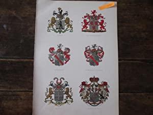 Netherlands Aristocracy. Six Fully Coloured Lithographically Printed Armorials of Familes Including...
