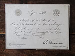 Order of the Star of India. An Official Admission Ticket to the Chapter of the Orders of the Star...