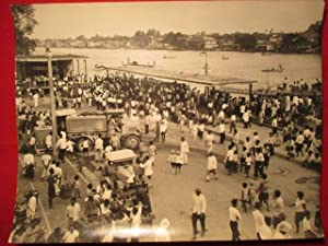 Bangkok, Thailand. A Large Busy Photdograph Showing a Ferry Stage on the Chao Prya River with ...