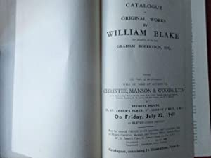 Catalogue of Original Works by William blake the Property of the Late Graham Robertson, Esq.