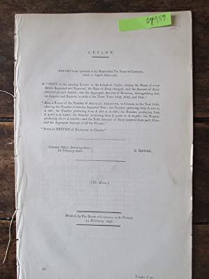 CEYLON. A Copy of the Existing Tariff in the Island of Ceylon, Stating the Names of Every Article ...
