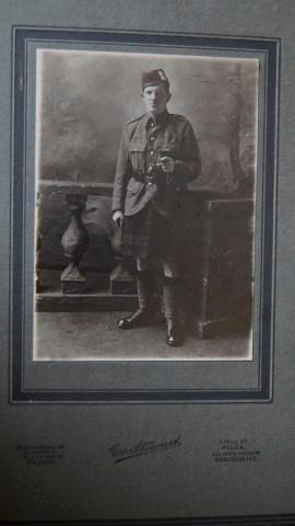 Glasgow Highladers. Vintage Photograph of a Highlander Wearing Khaki Service dress Jacket with Kilt...