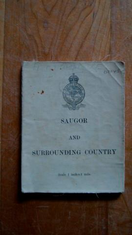 Saugor and Surrouonding Country. Folding Map on a Scale of 1 Inch to 1 Mile.