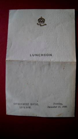 A Luncheon Menu with guests seating plan, Government House, Lucknow, Tuesday December 15, 1936. T...