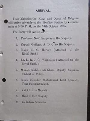 Programme of Their Majesties the King and Queen of Belgium's Visit to Gwalior October1928
