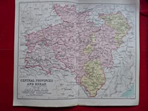 Central Provinces and Berar, India. Map on