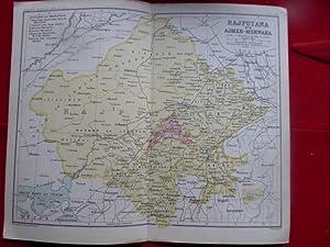 Rajputana with Ajmer-Merwara, India. Map on a