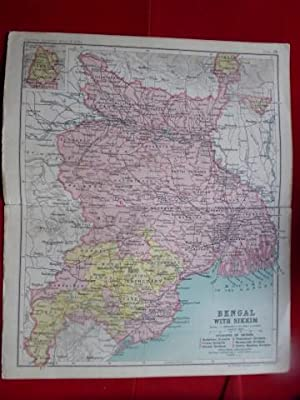 Bengal with Sikkim,, India. Map on a