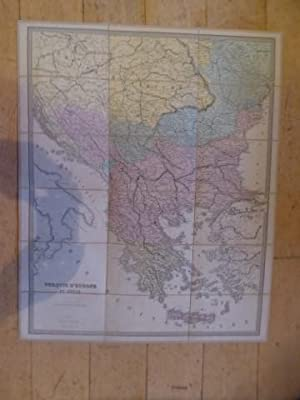 Turque De l'Europe et Grece. Folding French Map of Turkiey in Europe with Greece