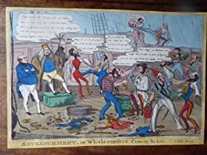 Retrenchment - or Whiskeranders crossing the Line. Hand Coloured Caricature of the 1830s