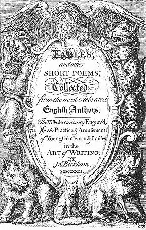 BICKHAM (John): Fables and Other Short Poems. Published by Thomas Cobb in 1731
