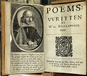 POEMS: Written by Wil. Shake-speare. Gent.: SHAKESPEARE (William)