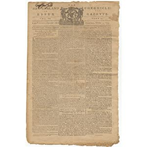 "The Crisis."" IN: The New-England Chronicle: or, Essex Gazette [Newspaper printing]: AMERICAN ..."