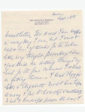 Autograph letter initialed: ROOSEVELT Eleanor