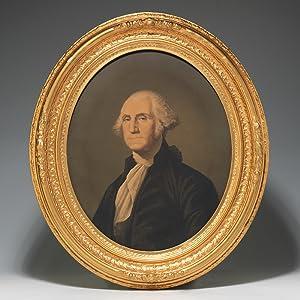 Framed chromolithographic portraits of George and Martha: WASHINGTON George MIDDLETON