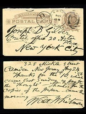 Autograph postcard signed: WHITMAN Walt