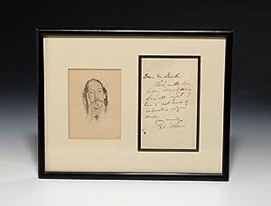 Autograph letter signed with portrait: STEVENSON Robert Louis