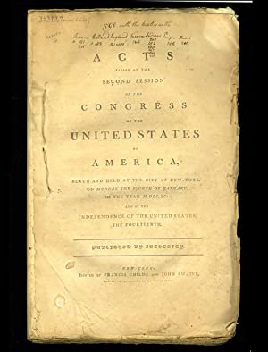 Acts Passed at the Second Session of the Congress: UNITED STATES CONGRESS