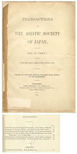 Transactions of the Asiatic Society of Japan, Volume III, Part I, 1875 (1883 Reprint)