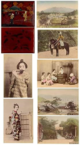 50 Hand Colored Albumen Photographs of Meiji Era Japan in Lacquer over Wood Album