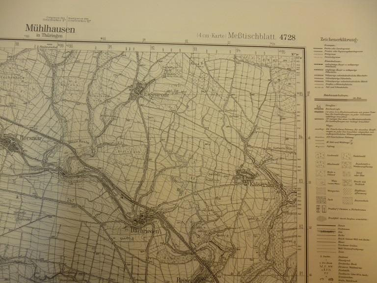Topographische Karte Thüringen.Meßtischblatt Nr 4728 Mühlhausen In