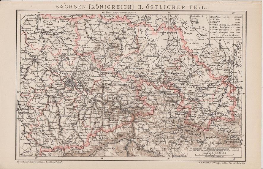 Orig. Holzstich Deutschland - Sachsen: Sachsen [Königreich].
