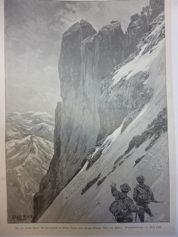 In der Westwand der Trettachspitze Allgäuer Alpen Ernst Platz Holzstich E 25853