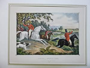 Hunting - Breaking Cover Lithographie Jagd Fuchsjagd Hunde Reiter
