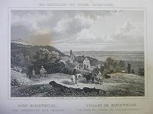 Dorf Gleisweiler vom Curgarten Orig Stahlstich Rhein Pfalz Gez. +gest. Hoffmeister Carlsruhe