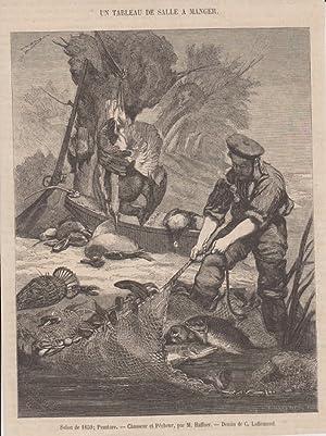 orig. Holzstich Salon de 1895; Peinture - Chasseur et Pécheur, par M. Haffner - Fischen Dessin de C...