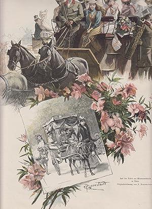 orig. Holzstich Auf der Fahrt zur Blumenschlacht in Nizza - Kutschen und Pferdewagen ...