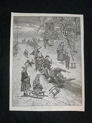 orig. Holzstich Gute Rutschbahn - Rodeln Ein Winterbild aus Thürigen von Hans W. Schmidt