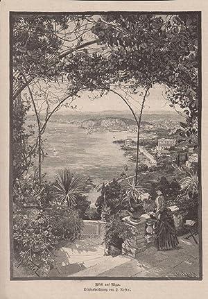 Orig Stahlstich Blick auf Nizza - Frankreich Originalzeichnung von H. Nestel