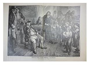 orig. Holzstich Schulbesuch König Friedrich Wilhelms I von Preussen - Schule Nach einem Gemälde von...