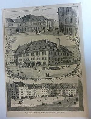 Holzstich Bayern München - Der Umbau des Hofbräuhauses in München Gemalt von G. Heine