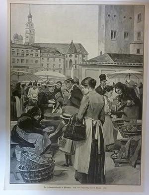 Holzstich Bayern München - Der Schwammerlmarkt in München Gemalt von G. Rapp