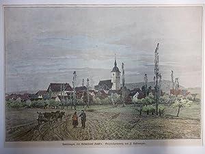 Holzstich Bayern Knittlingen - Knittlingen, der Geburtsort Faust's. Originalzeichnung von F. ...