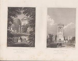 Orig. Stahlstich - Monument de Talma et autres. Monument du général foy. 2 Ansichten auf einem ...