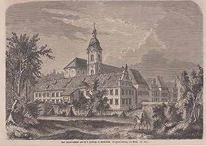 Holzstich Bayern Fürstenfeld - Das Invalidenhaus und die Hofkirche in Fürstenfeld.