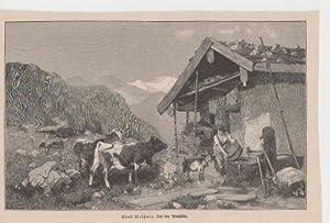 Orig. Holzstich Kühe - Vor der Almhütte Gemalt von Ernst Meißner