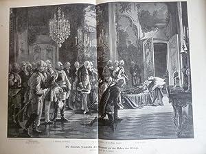 Orig. Holzstich Friedrich der Große- Die Generale Friedrichs des Grossen an der Bahre des Königs.