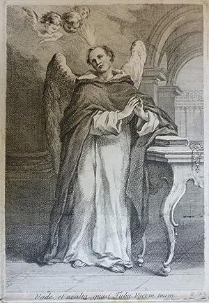 Orig. Kupferstich - Dominus - Vade, et exalta quasi Tuba vocem tuam Gemalt von Wagner
