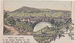 Orig. kolorierter Holzstich - Bayern - Neustadt a. Hardt.