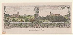 Orig. kolorierter Holzstich - Bayern - Vierzehnheiligen und Banz