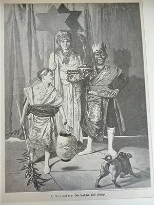 Orig. Holzstich - Wallfahrt - Die heiligen drei Könige.
