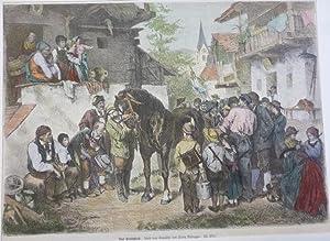 Orig. kolorierter Holzstich - Defregger - Das Preispferd